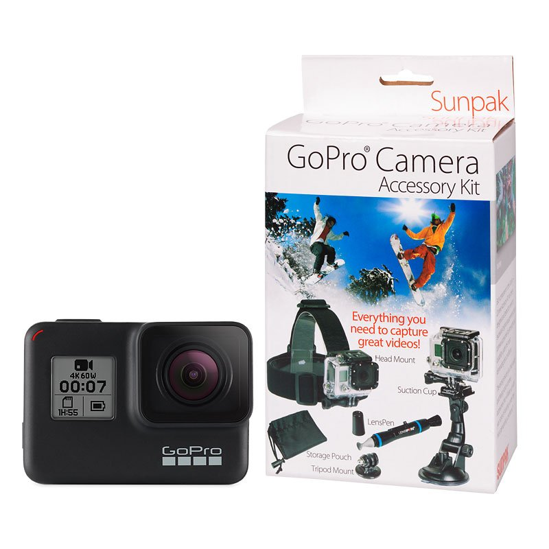 Gopro Hero7 Black With Sunpak Action Camera Kit Pkg 47822