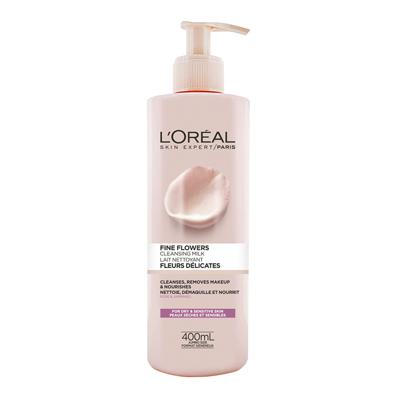 L'Oreal Fine Flowers Cleansing Milk - Dry Sensitive Skin - 400ml