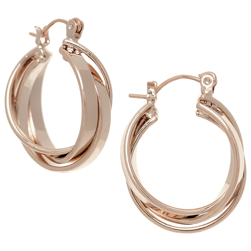 Dash of Gold Double Twisted Hoop Earrings - Rose Gold