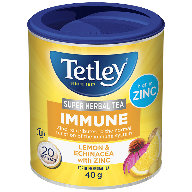 Tetley Immune Fortified Herbal Tea - Lemon & Echinacea with Zinc - 20's