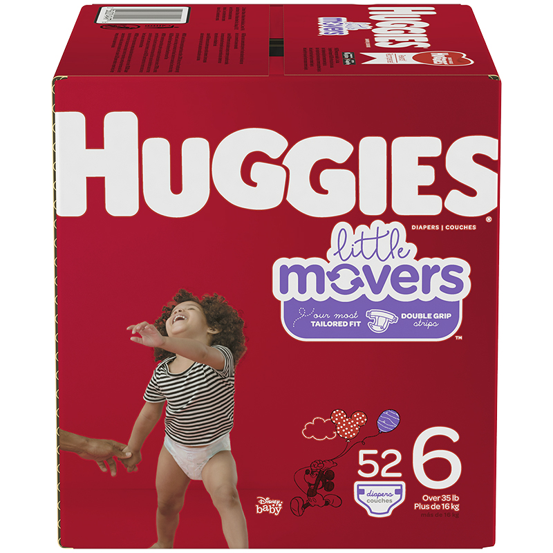 Huggies Little Movers Diaper - Size 6 - 52's