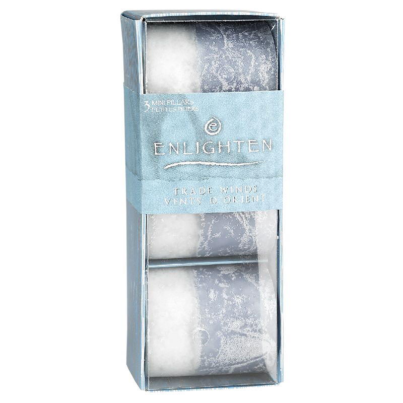 Enlighten Mini Pillar Candles - Tradewinds - 3 pack
