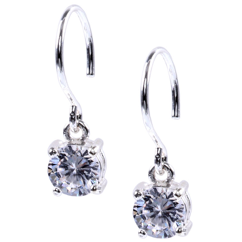 Anne Klein Crystal Hoop Earrings - Silver