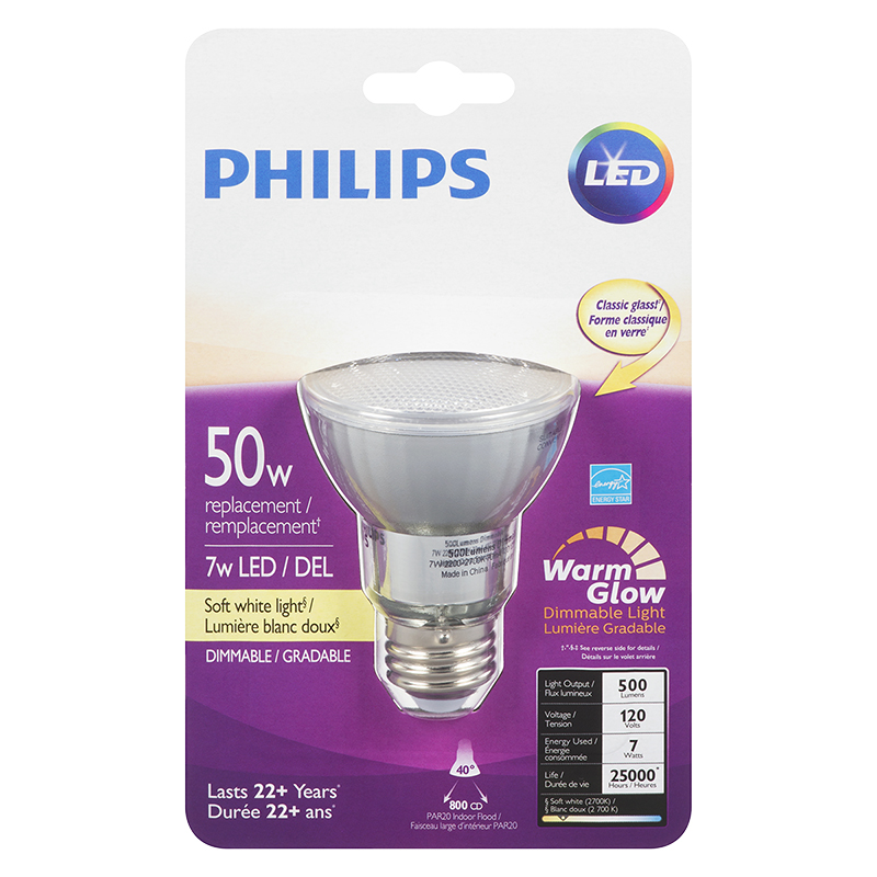 Philips LED Par20 Light Bulb - Soft White Warm Glow - 50w/7w