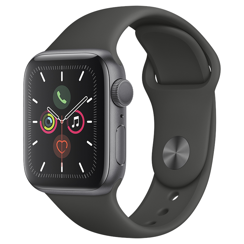 Apple Watch Series 5 - GPS - 40mm - Space Grey/Black Sport Band - MWV82VC/A