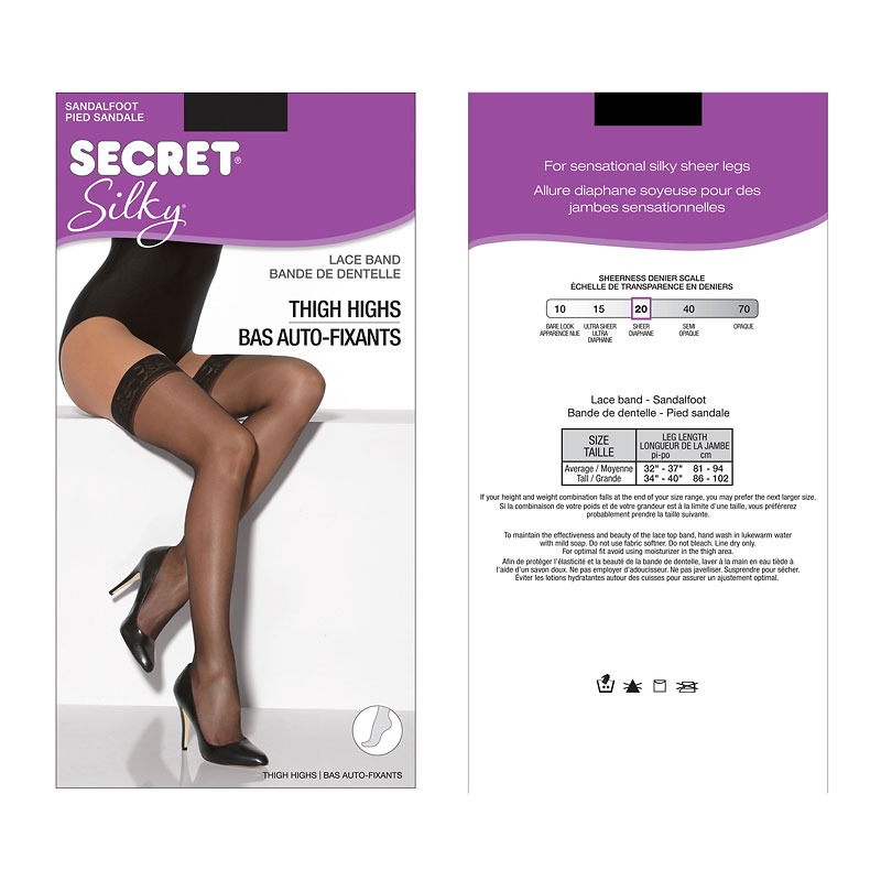 Secret Silky Thigh Highs - Tall - Black