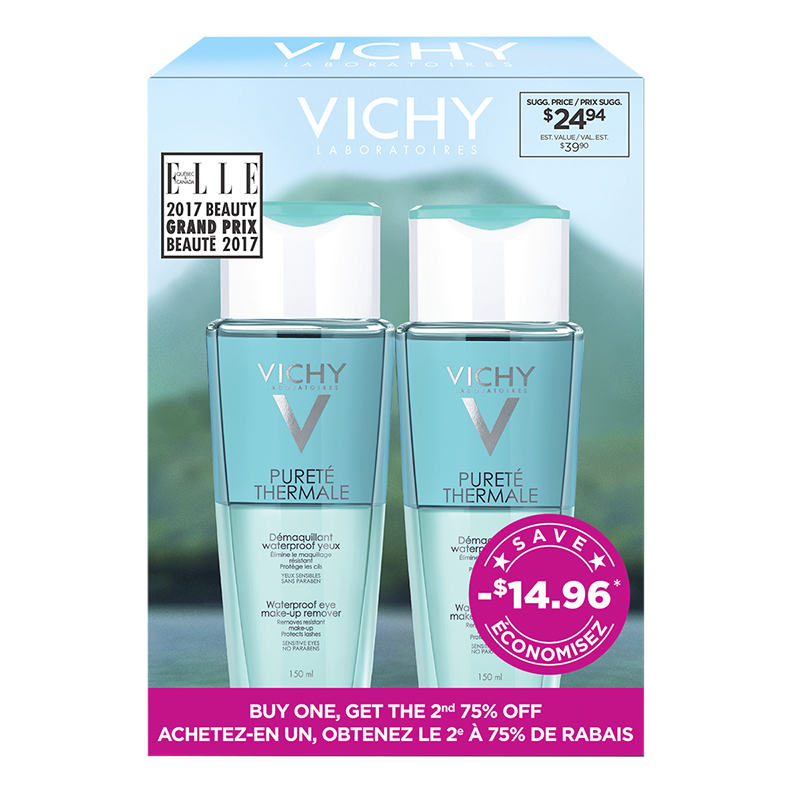 Vichy Purete Thermale Waterproof Eye Make-up Remover - 2x150ml