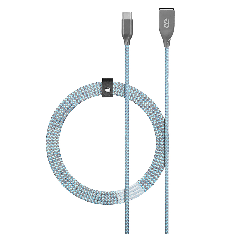 Logiix Piston Connect Braid+ USB-A to USB-C Cable - Ice Blue - LGX126733