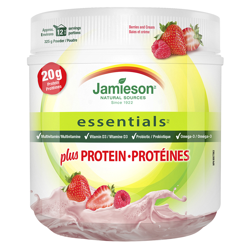 Jamieson Essentials Plus Protein - Berries & Cream - 325g