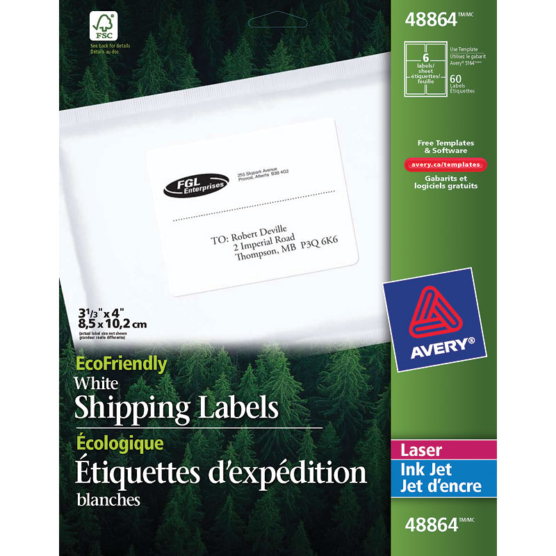 "Avery White EcoFriendly Mailing Labels - 3-1/3"" x 4"""