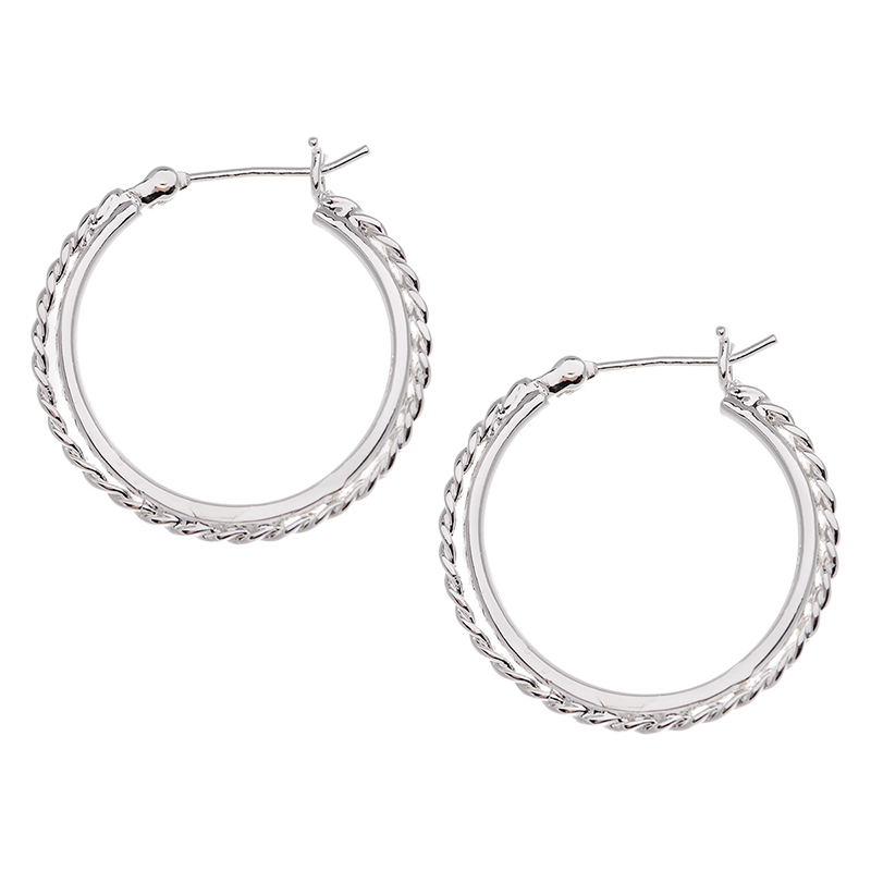 Silver Linings Ribbed Hoop Earrings - Silver Tone