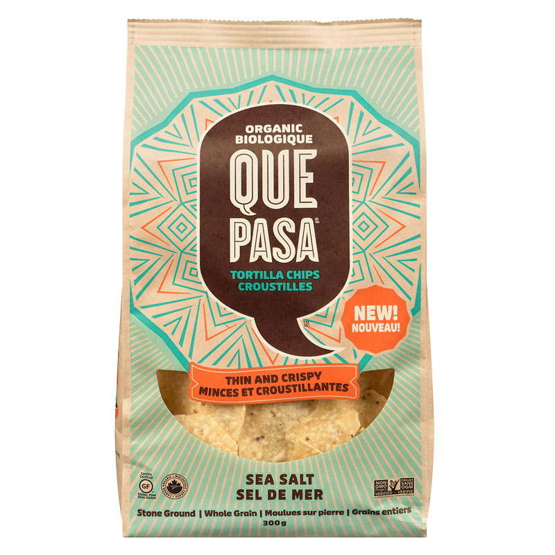 Ques Pasa Organic Tortilla Chips - Thin and Crispy - Sea Salt - 300g
