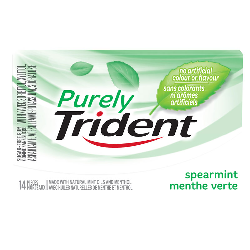 Purely Trident Gum - Spearmint - 14 pieces