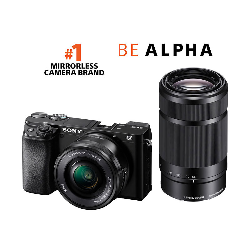 PRE-ORDER: Sony a6100 with 16-50mm and 55-210mm Lenses - Black - ILCE6100YB