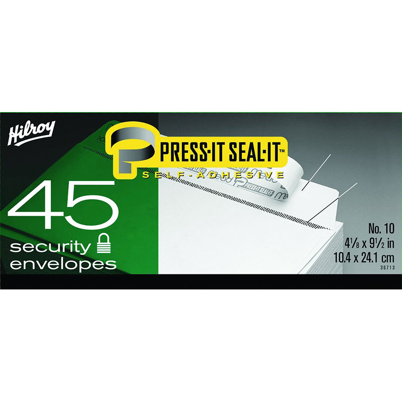 Hilroy Press-It Seal-It No.10 Security Envelopes - 45 Pack