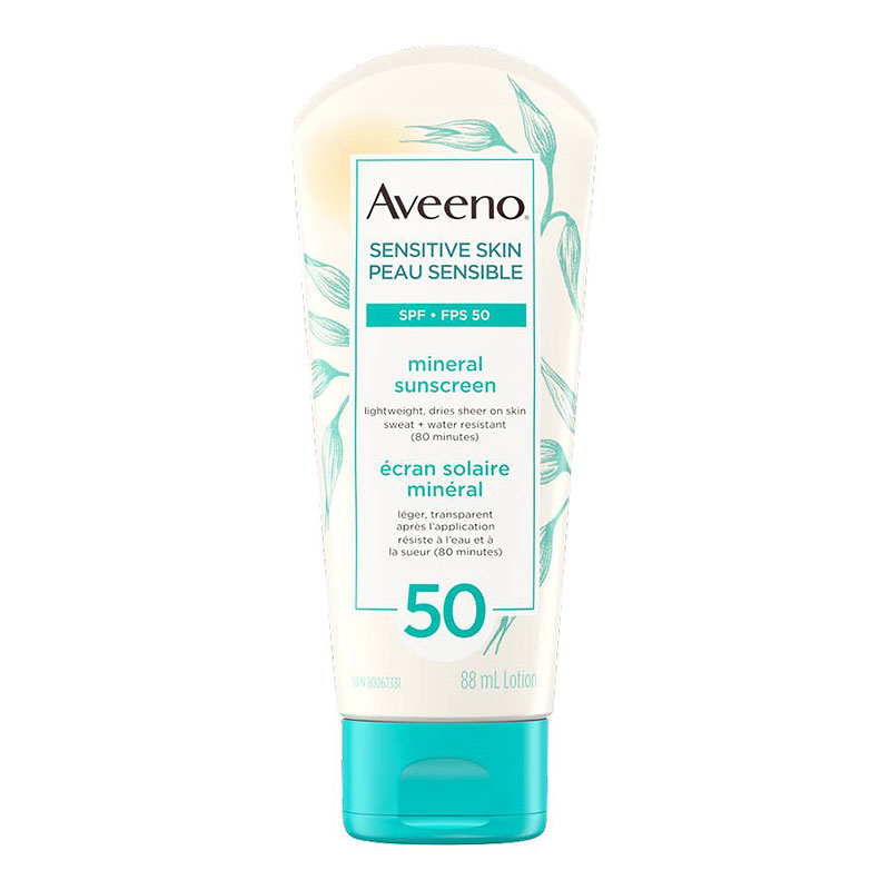 Aveeno Active Naturals Sensitive Skin Mineral Sunscreen Lotion - SPF 50 - 88ml