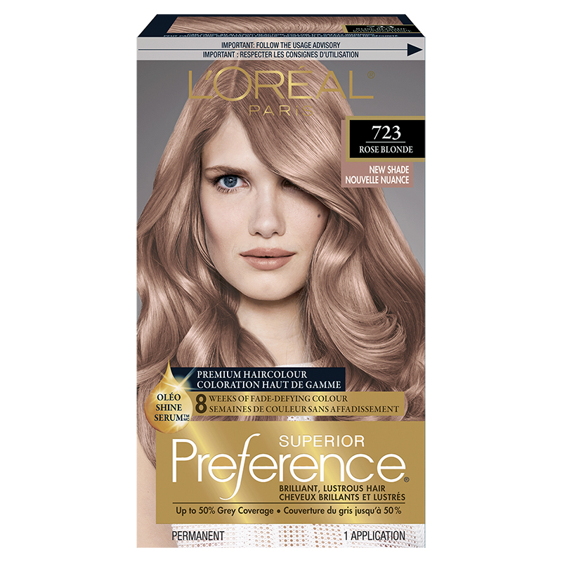 Loreal Superior Preference Fade Defying Colour Shine System 723 Rose Blonde