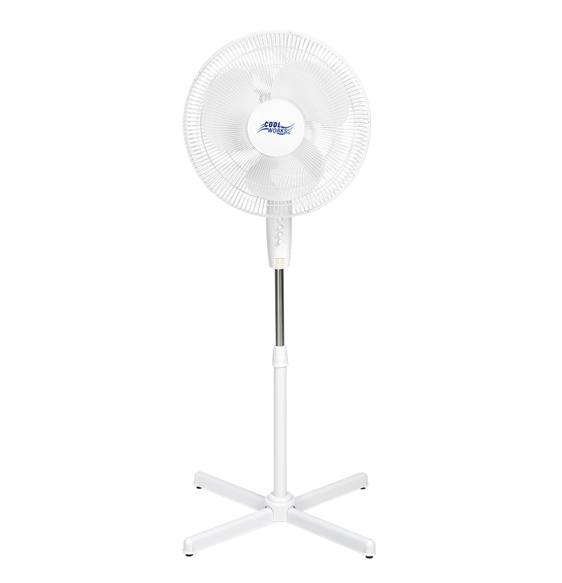 Cool Works Pedestal Fan - White - 16-inch