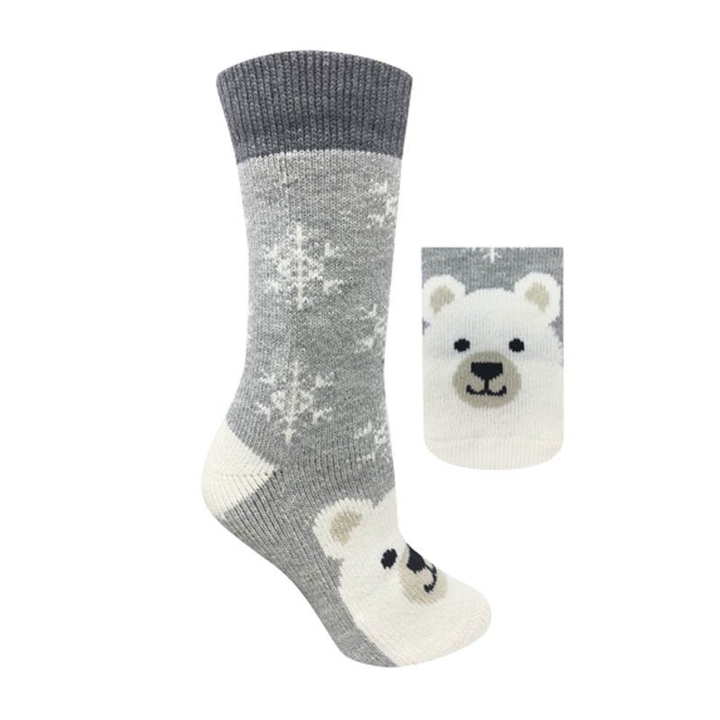 Hot Paws Animal Ladies Socks - Cream - Polar Bear