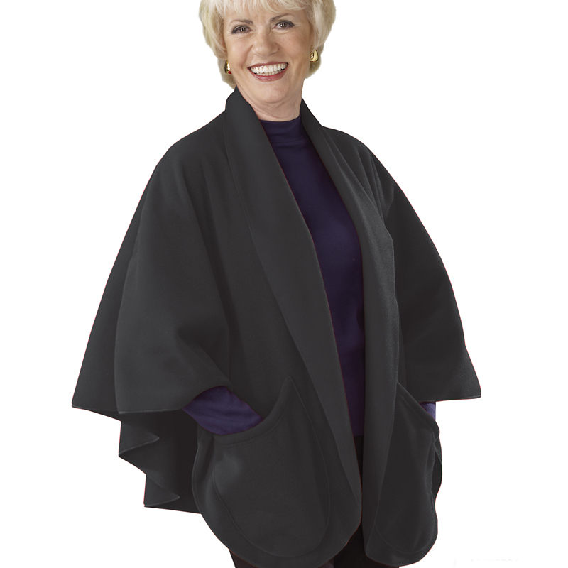 Silvert's Cozy Pocket Fleece Cape - Black