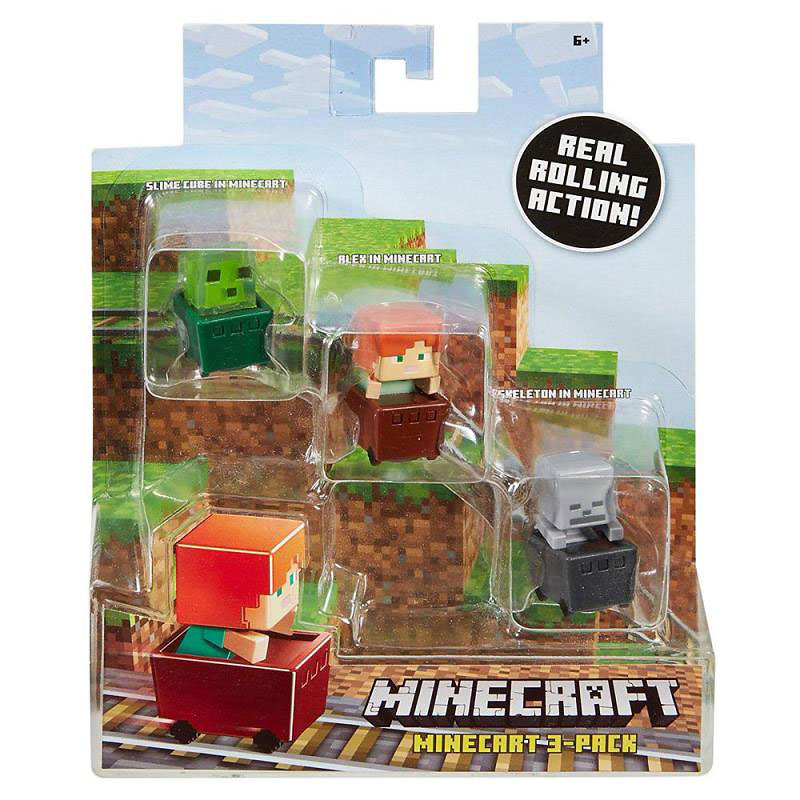 Minecraft Minecart Figures - 3 pack - Assorted