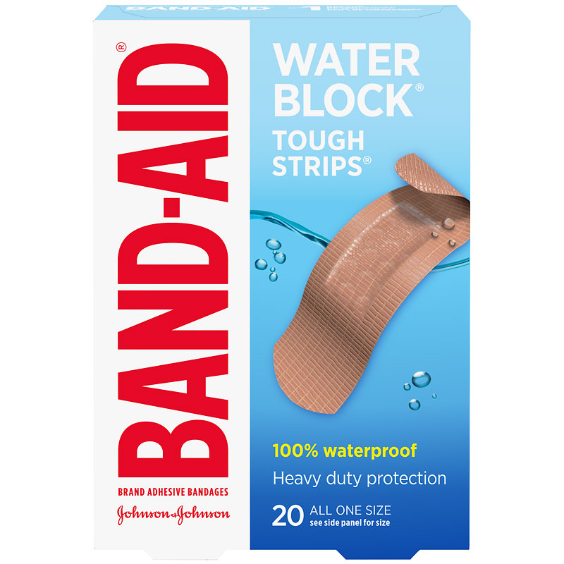 Johnson & Johnson Band-Aid Tough-Strips Waterproof - One Size - 20's