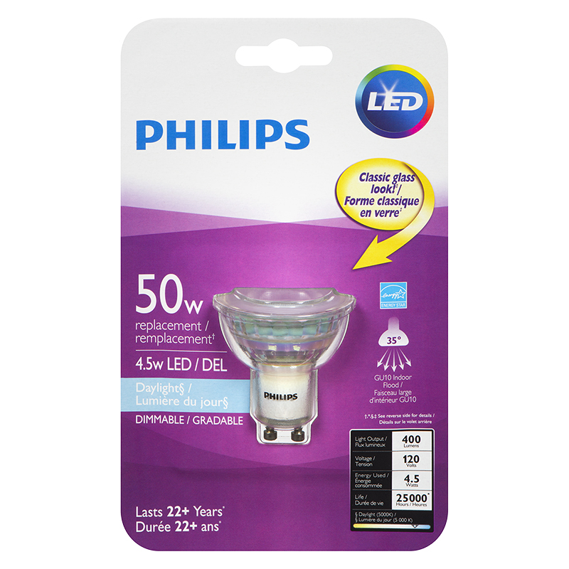 Philips GU10 LED Light Bulb - Daylight - 4.5w/50w