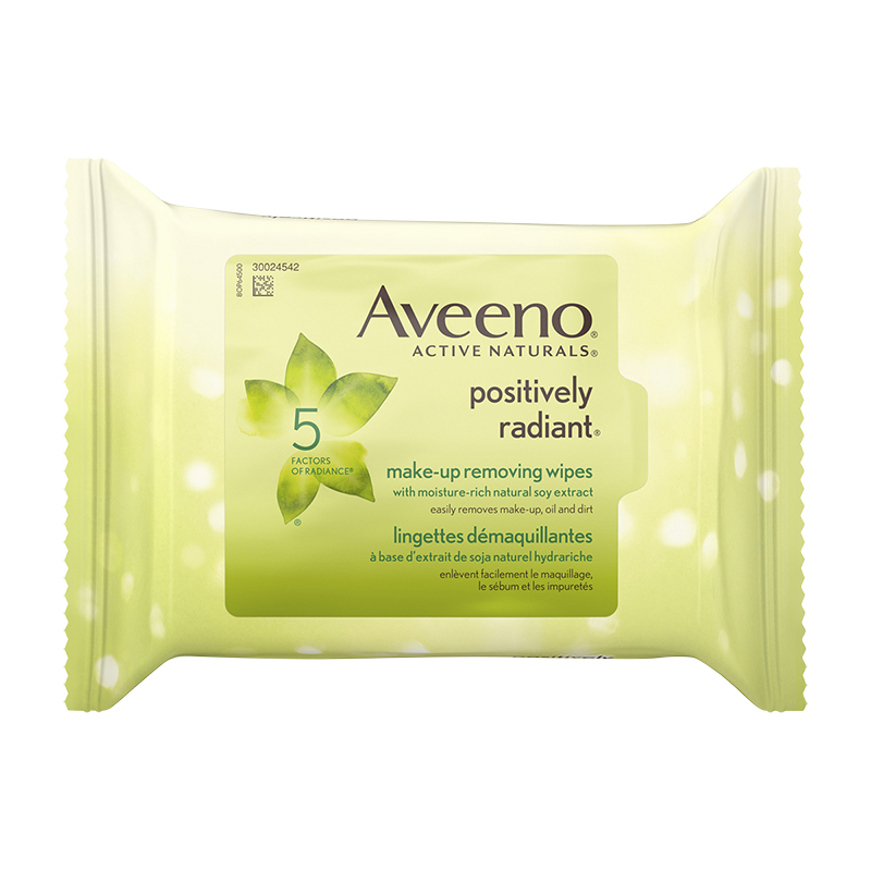 Aveeno Active Naturals Positively Radiant Make-up Removing Wipes - 25's