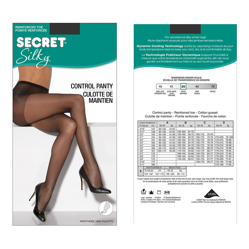 Secret Silky Control Top Panty Hose - D - Black