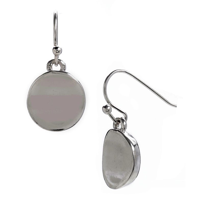 Kenneth Cole Shiny Disk Drop Earrings - Silver Tone