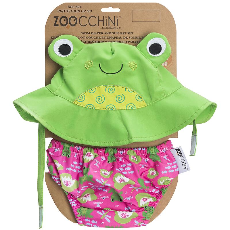 Zoocchini Diaper + Sun Hat Set - Frog - Small - ZOO169  94da5b901da