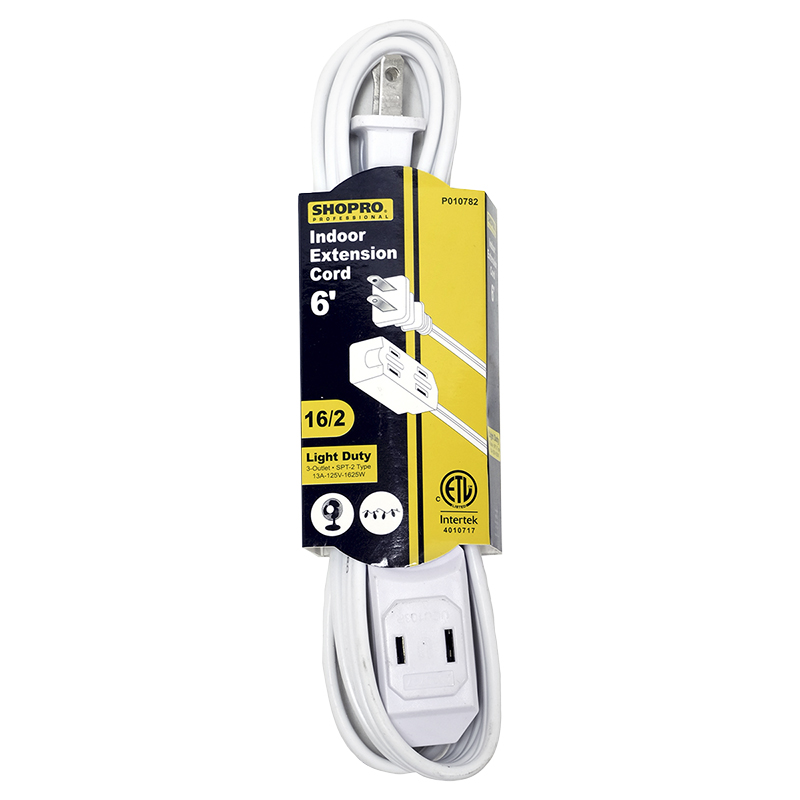 Shopro 3 Outlet Indoor Light Duty Extension Cord - White - 6ft