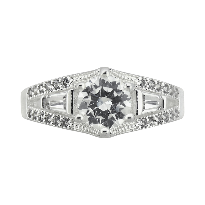 Puccini Cubic Zirconia Round Centre Stone Ring - Size 8