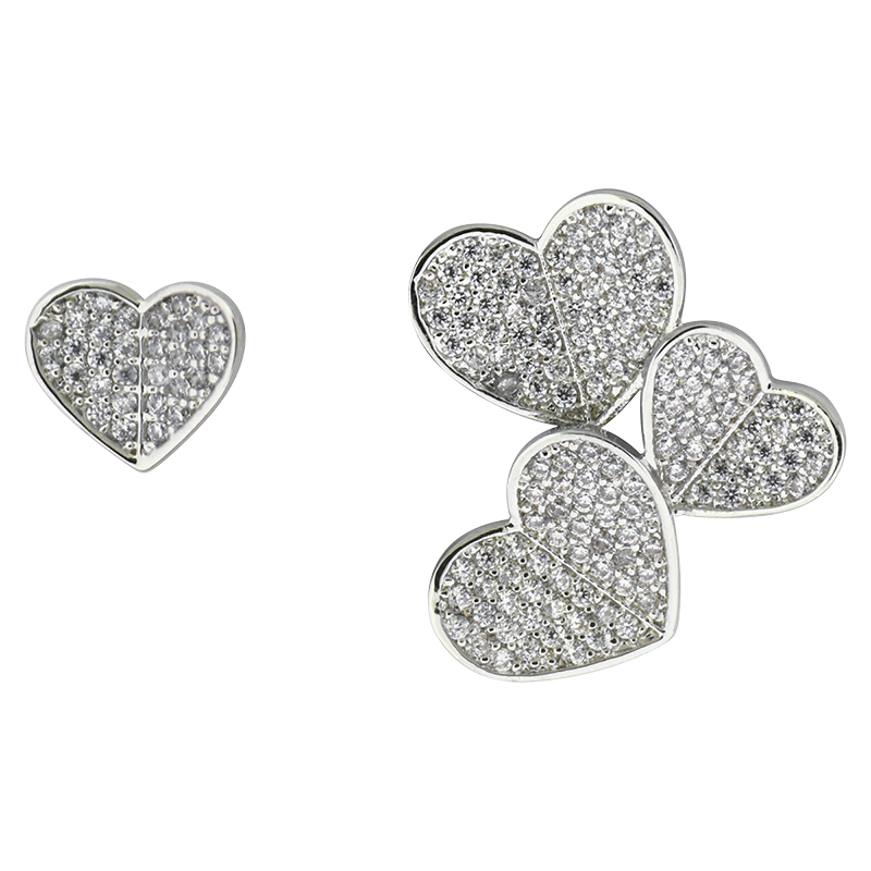 Puccini Cubic Zirconia Pave Heart Mismatched Earrings