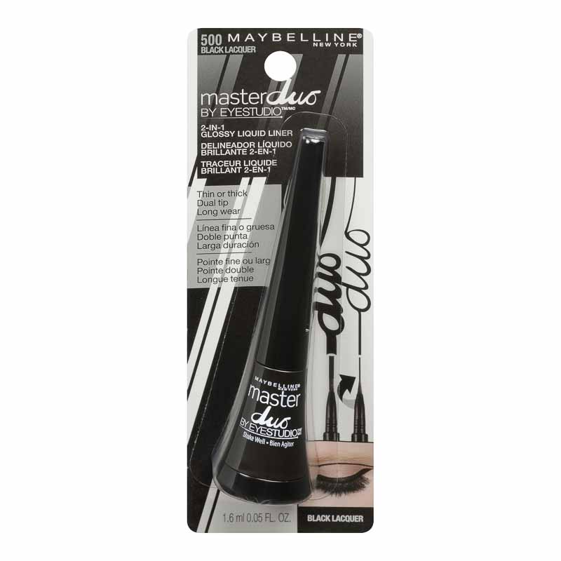 Maybelline Eye Studio Master Duo Thick or Thin Glossy Liquid Liner - Black Lacquer