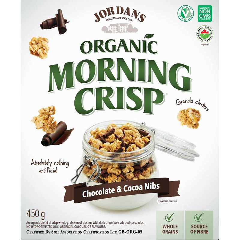 Jordans Organic Morning Crisp Cereal - Chocolate & Cocoa Nibs - 450g