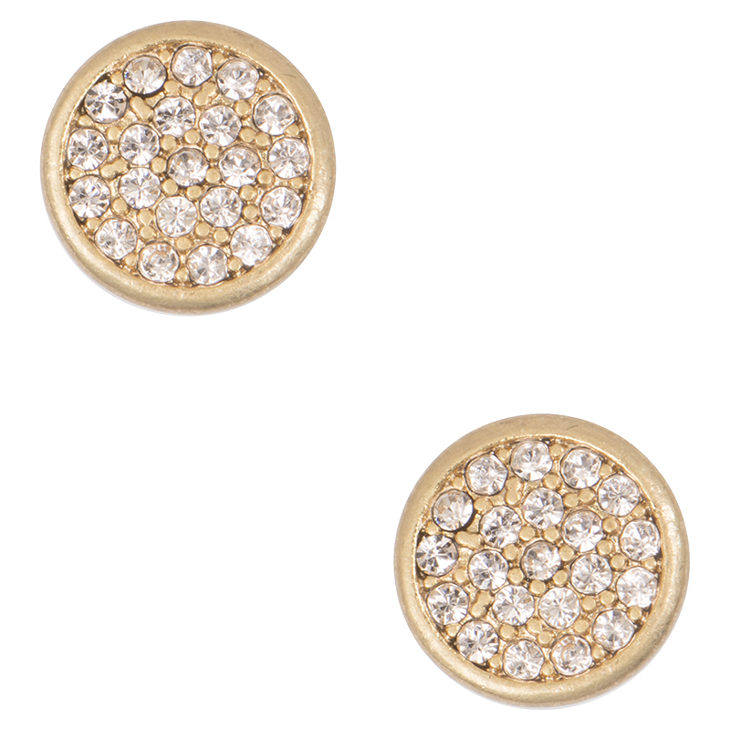 Lonna & Lilly Pave Studded Disc Earrings - Gold