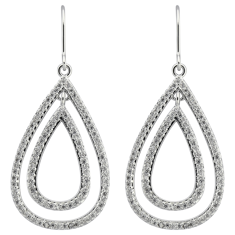 Puccini Cubic Zirconia Pave Open Double Drop Earrings