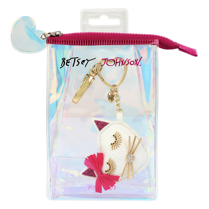 Betsey Johnson Cat FOB Key Chain Ring