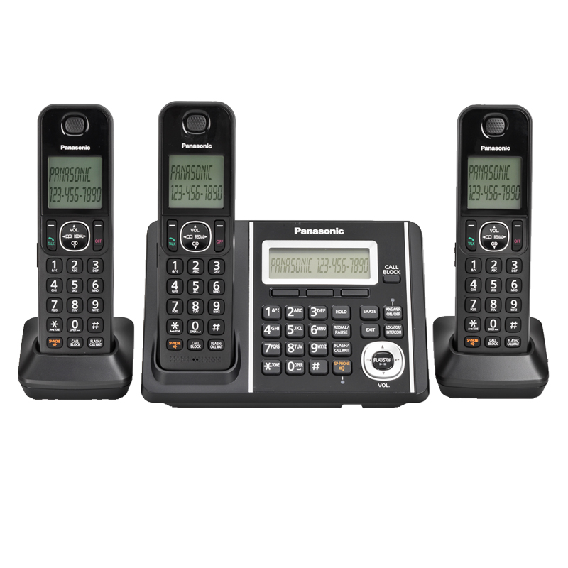 Panasonic DECT 6.0 3-Handset Dual Keypad with Cordless Answering System - Black - KXTGF343CB