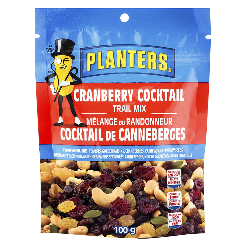 Planters Trail Mix - Cranberry tail - 100g | London Drugs on trial mix, tortilla mix, snack mix, party mix, soup mix, chex mix, vanilla pudding mix, just mix, planters cheese curls, planters peanuts, chocolate pudding mix, mocha coffee mix, bisquick mix, planters spicy nuts cajun sticks and, planters cocoa almonds,