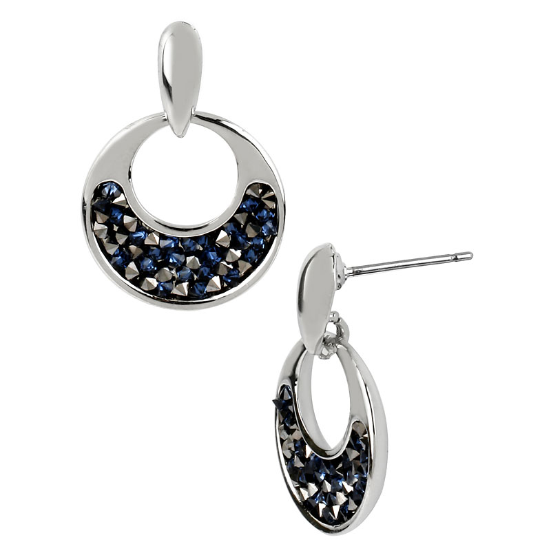 Kenneth Cole Blue Glitter Drop Earrings - Silver