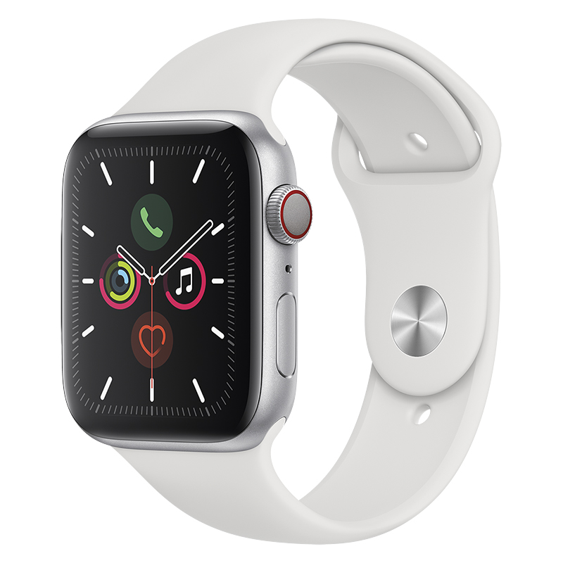 Apple Watch Series 5 - GPS + Cellular - 40mm - Silver/White Sport Band - MWWN2VC/A
