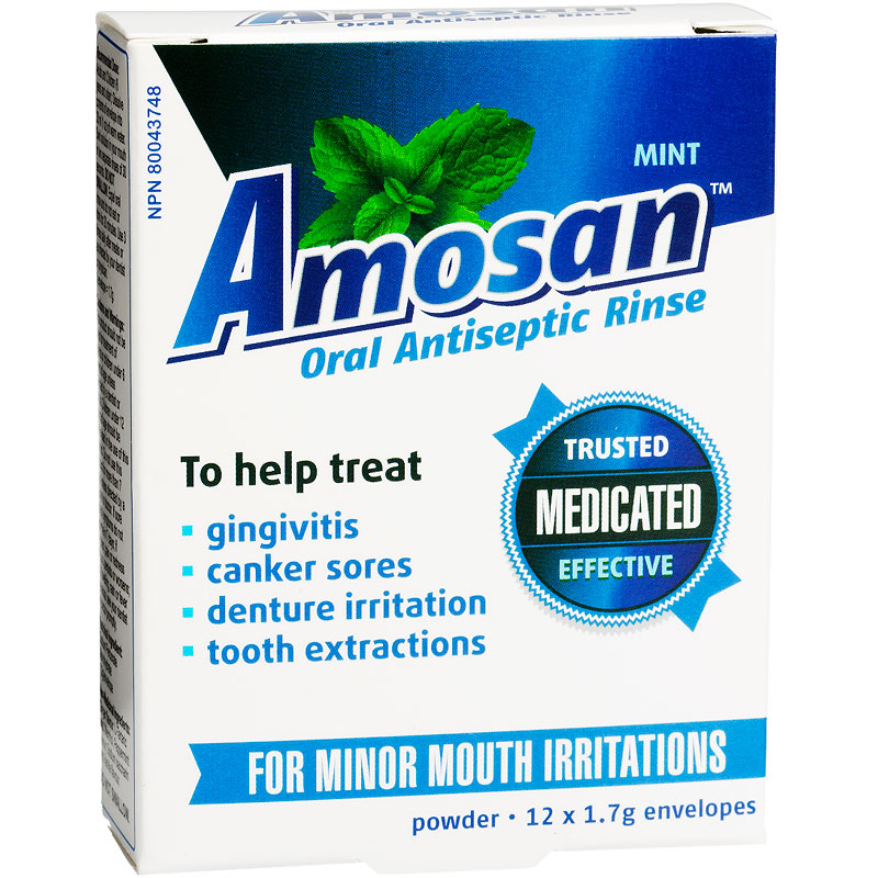 Amosan Oral Antiseptic Rinse - Mint - 12 x 1.7g