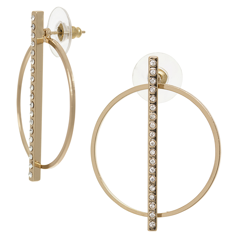Dash of Gold Hoop Stick Earrings - Gold Tone