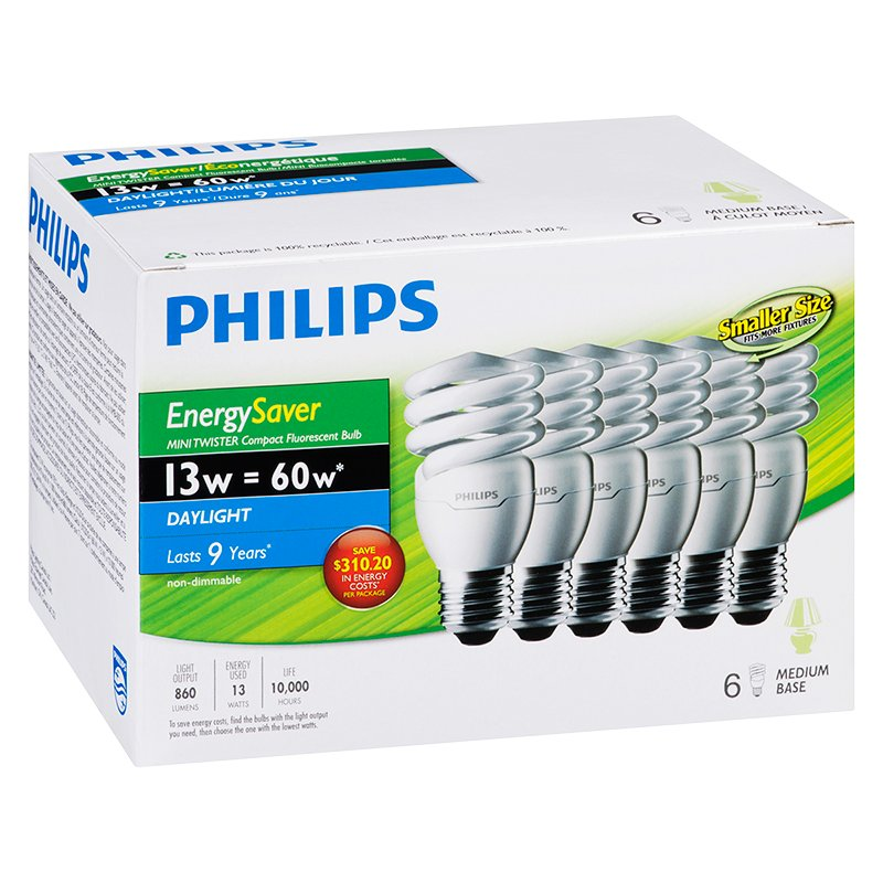 Philips CFL Lightbulb - Daylight - 13w/6pack