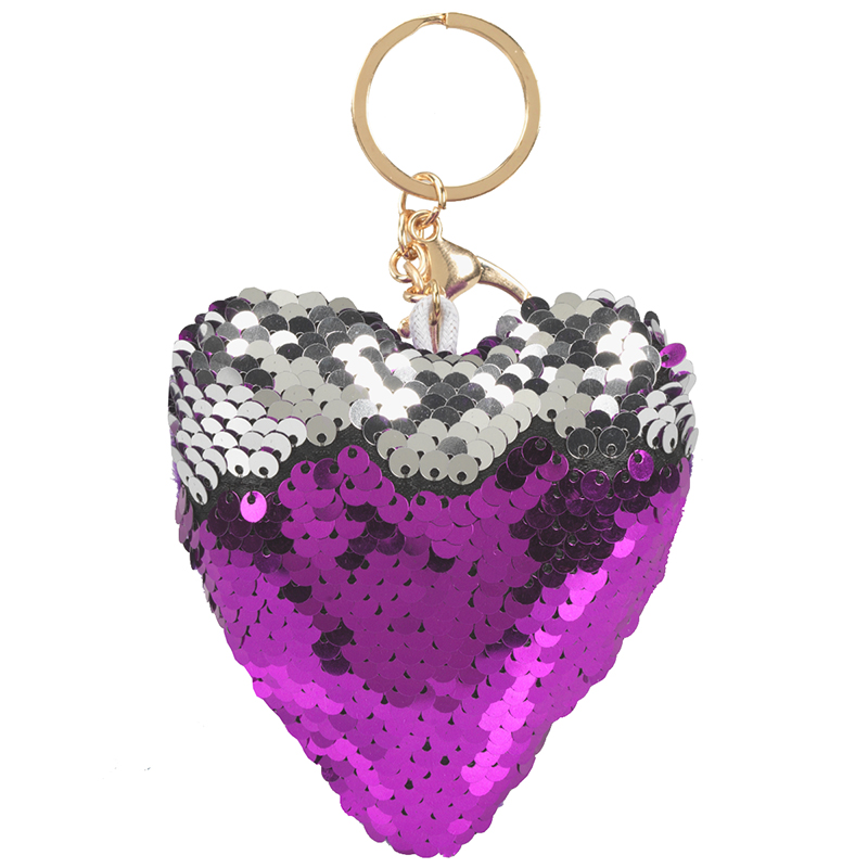 Valentine Sequin Heart Key Ring - Assorted