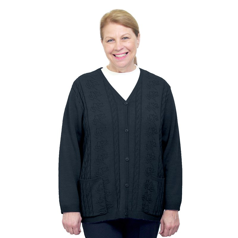 Silvert's Women's Classic Open Back Cardigan - Black - 3XL
