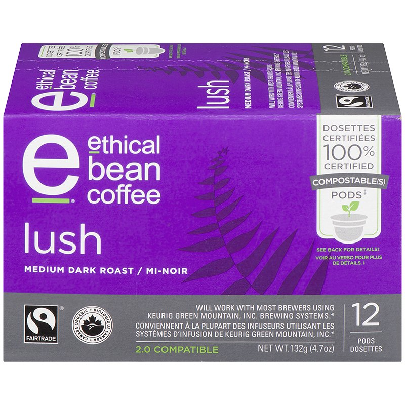 Ethical Bean Coffee - Lush - Medium Dark Roast - 12 Servings