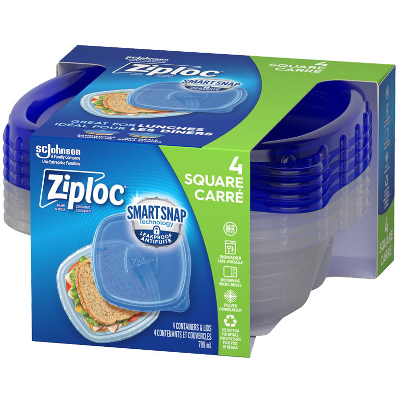 Ziploc Square Containers - Small - 4's